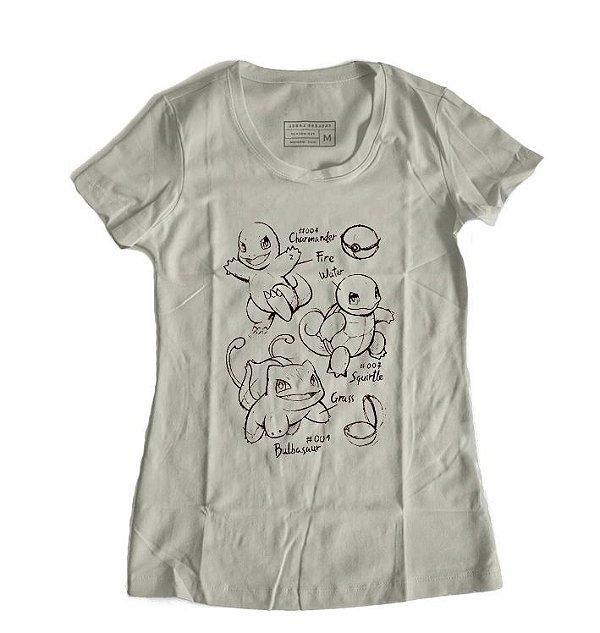 Camiseta Feminina Bulbasaur Charmander Pokemon