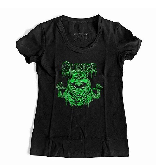 Camiseta Feminina Caça Fantasmas - Slimer
