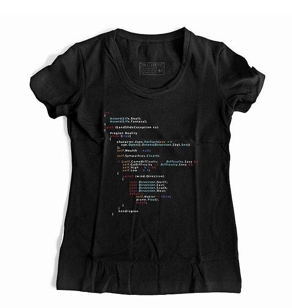 Camiseta Feminina Código Background Programação