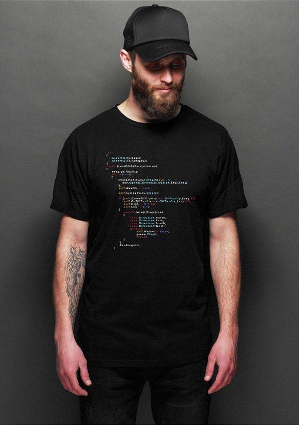 Camiseta Masculina Código Background Programação