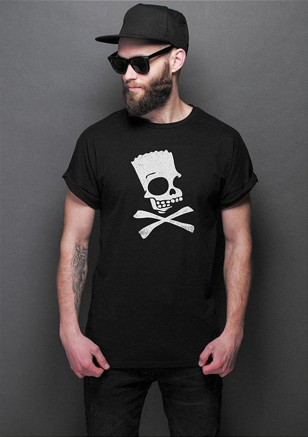 Camiseta Masculina The Simpsons Bart Skull