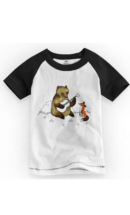 Camiseta Infantil Urso e Raposa