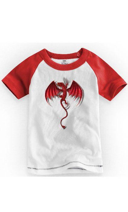 Camiseta Infantil Dragão - Nerd e Geek - Presentes Criativos