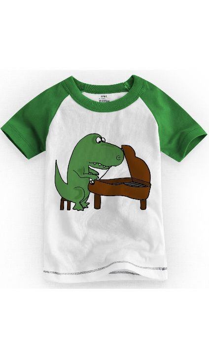 Camiseta Infantil Dinossauro Piano - Nerd e Geek - Presentes Criativos