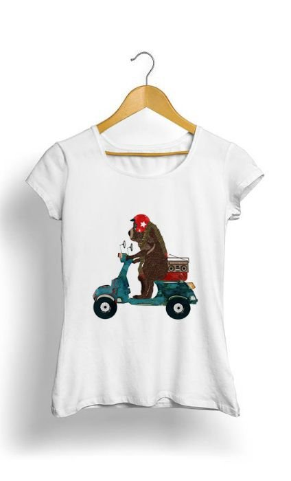 Camiseta Feminina Tropicalli Scooter Bear