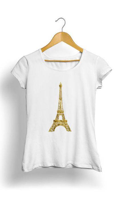 Camiseta Feminina Tropicalli Gold Eiffel Tower
