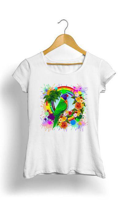 Camiseta Feminina Tropicalli Rainbow Lorikeet Tropical Colors