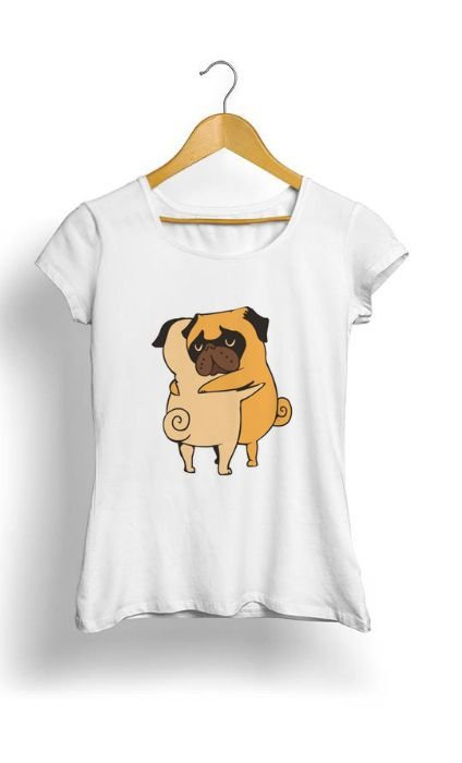 Camiseta Feminina Tropicalli Pug Hugs
