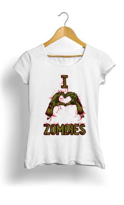 Camiseta Feminina Tropicalli I love Zombies