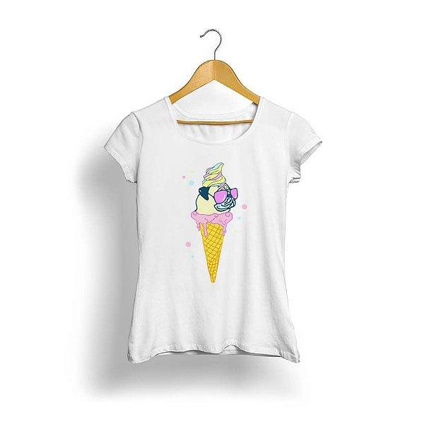 Camiseta Feminina Tropicalli Ice-cream pug