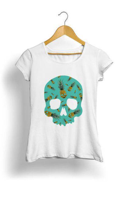 Camiseta Feminina Tropicalli Skull Pineapple