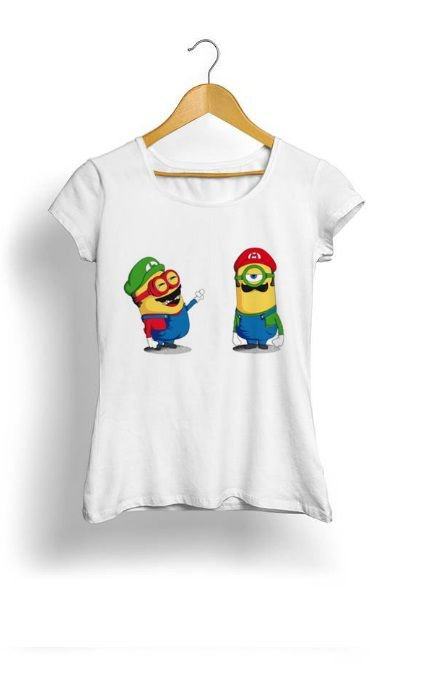 Camiseta Feminina Tropicalli Minions mario
