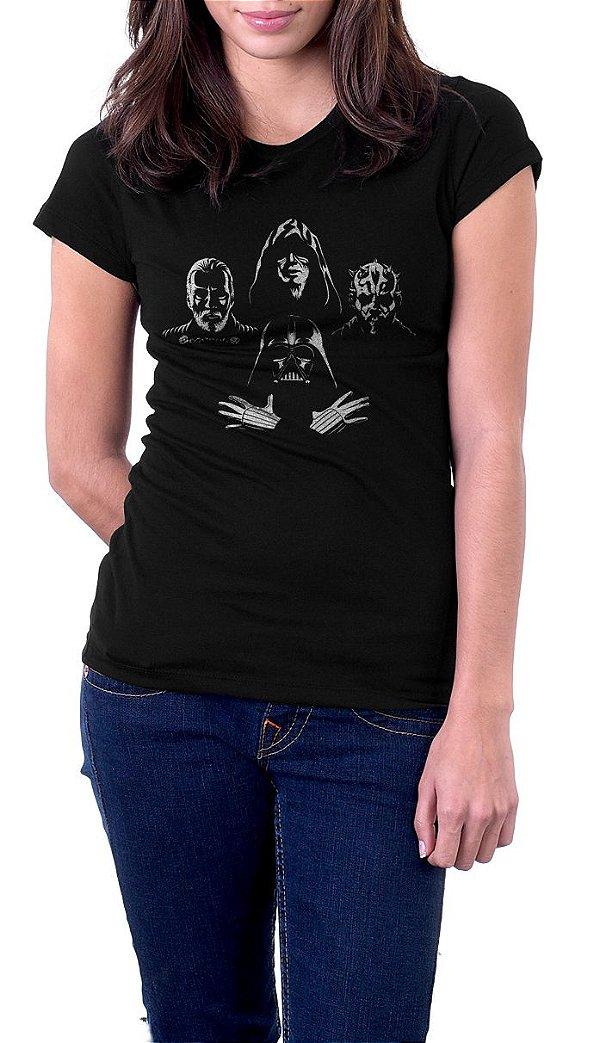 Camiseta Feminina Star Wars Darth Vader Zombies