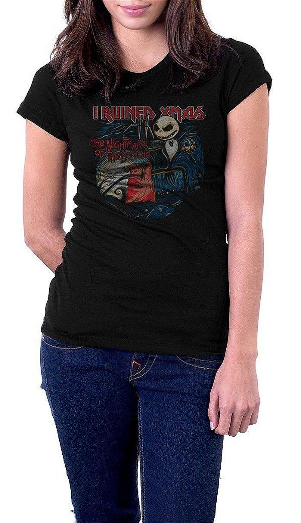 Camiseta Feminina I Ruined Xmas