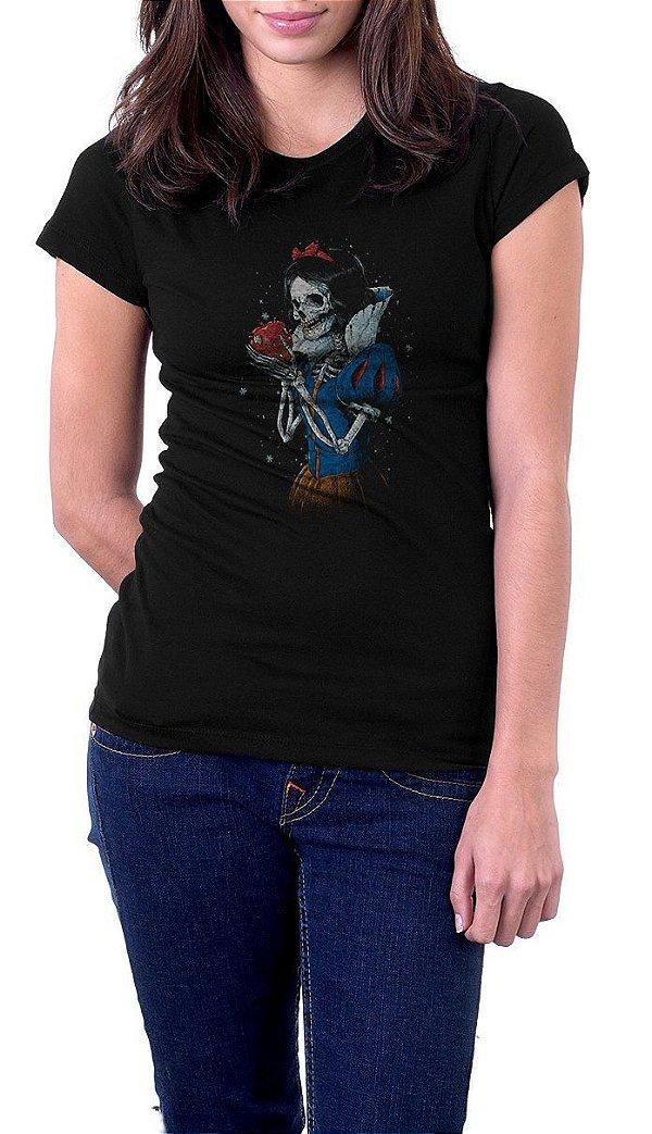 Camiseta Feminina Branca De Neve Skull