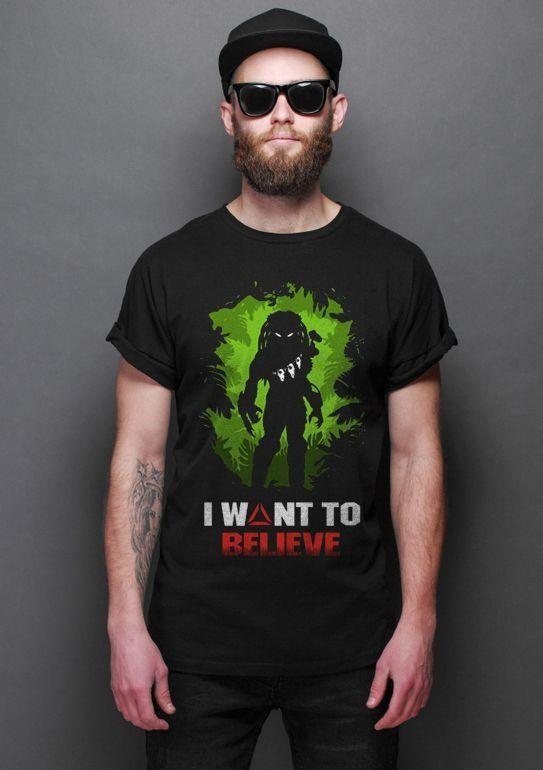 Camiseta Masculina  Aliens vs Predador I Wont to Believe - Nerd e Geek - Presentes Criativos