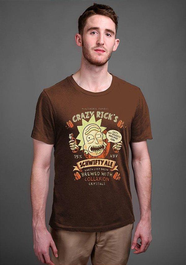 Camiseta Masculina Crazy Rick' s - Nerd e Geek - Presentes Criativos