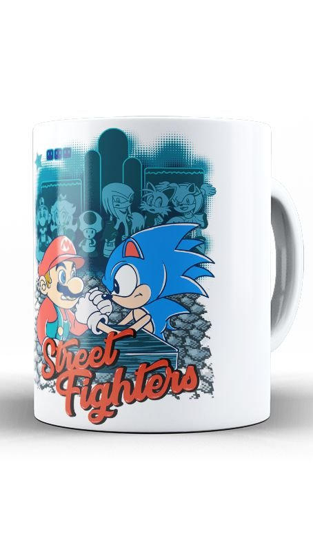 Caneca Sonic vs Mario Bros Street Fighters - Nerd e Geek - Presentes Criativos