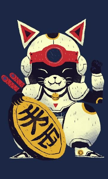 Camiseta  Lucky Cat Samurai