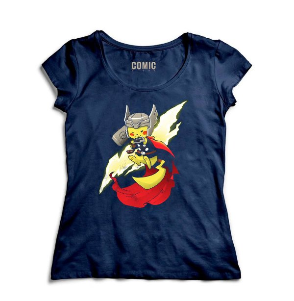 Camiseta Feminina  Pikachu Thor