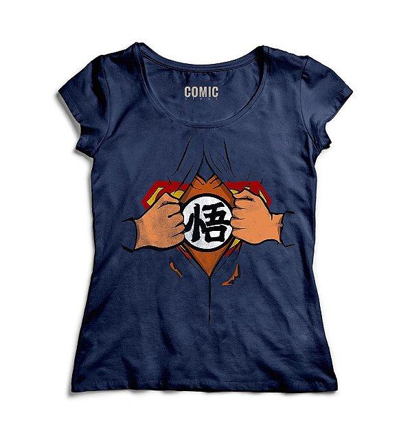 Camiseta Feminina Superman Goku