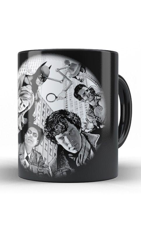 Caneca Sherlock Holmes e Batman