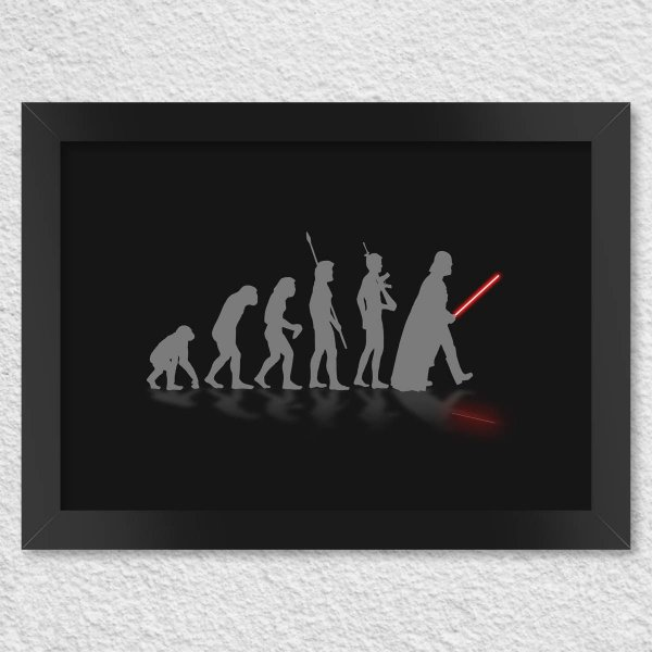 Poster com Moldura Geek Evolution - Preto Presentes Criativos