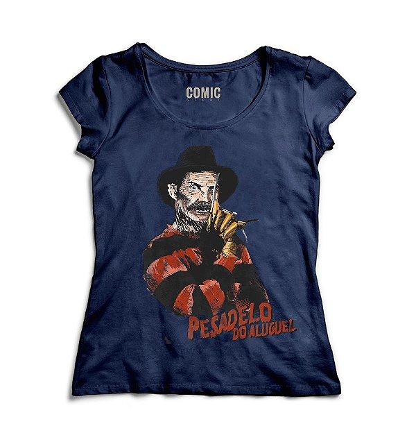 Camiseta Feminina Pesadelo do Aluguel -Azul - Nerd e Geek - Presentes Criativos