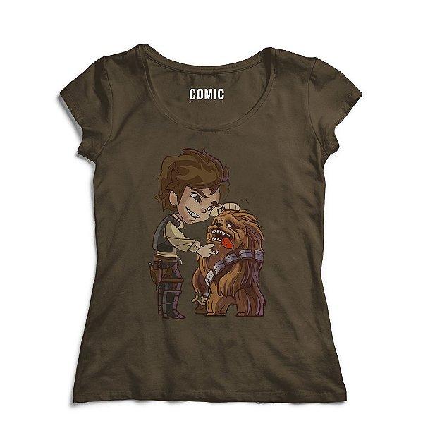 Camiseta Feminina Star Wars Han Solo e Chewbacca