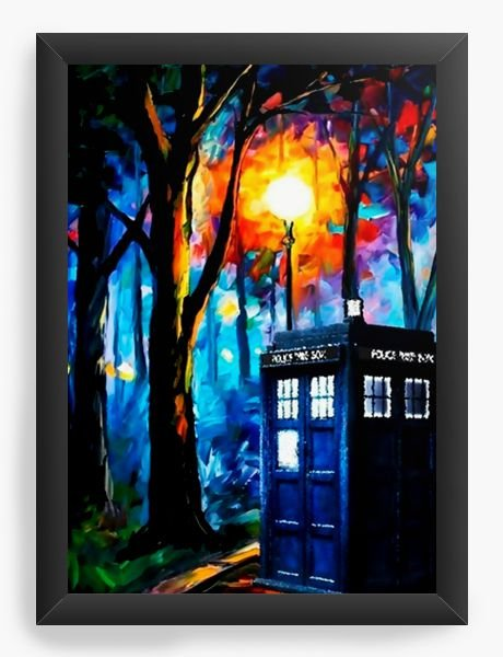 Quadro Decorativo A4 (33X24) Doctor Who Police - Nerd e Geek - Presentes Criativos