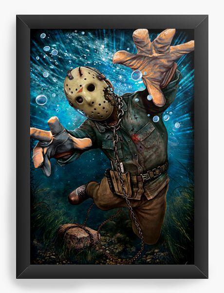 Quadro Decorativo A4 (33X24) Jason - Filme - Nerd e Geek - Presentes Criativos