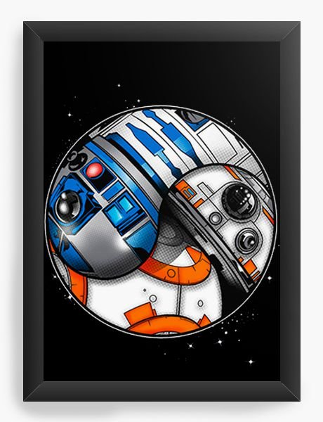 Quadro Decorativo BB-8 e R2-D2 - Star Wars