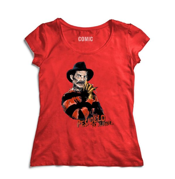 Camiseta Feminina Seu Madruga Freddy Krueger - Nerd e Geek - Presentes Criativos