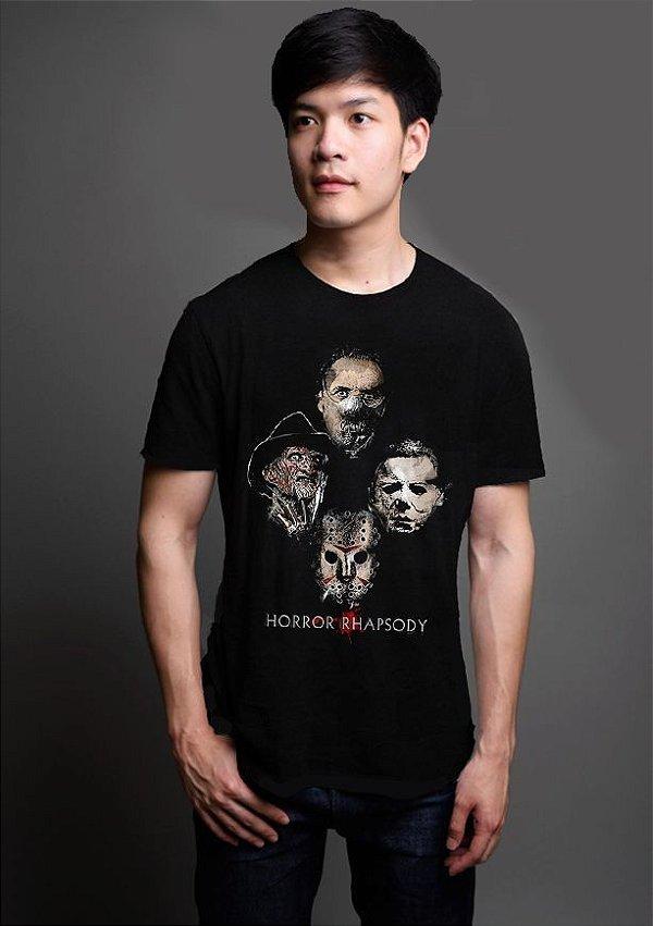 Camiseta Masculina  Killers - Horror Rhapsody - Nerd e Geek - Presentes Criativos