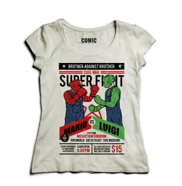Camiseta Feminina Mario vs Luigi - Nerd e Geek - Presentes Criativos