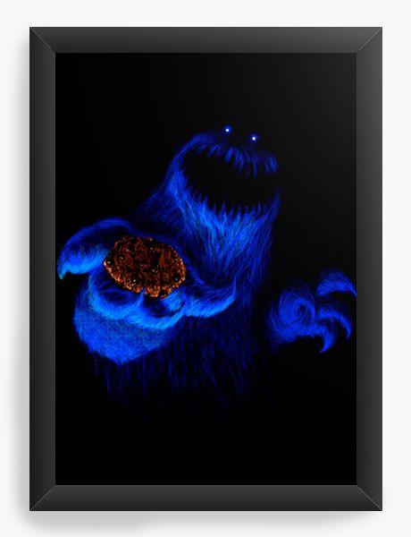 Quadro Decorativo Cookie Monster - Nerd e Geek - Presentes Criativos
