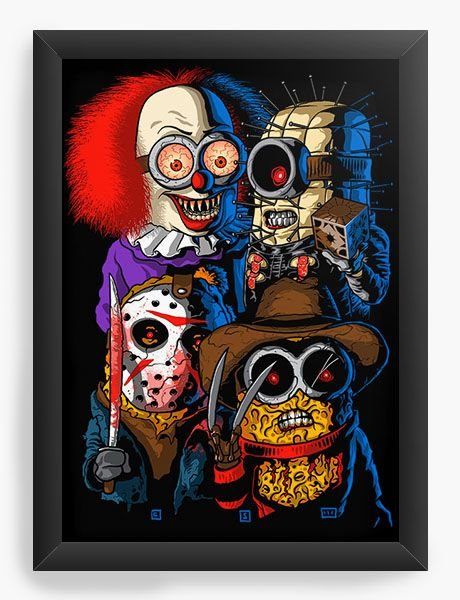 Quadro Decorativo A4 (33X24) Minions Killers - Nerd e Geek - Presentes Criativos