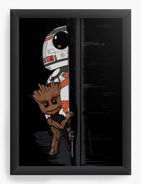 Quadro Decorativo BB-8 e Groot