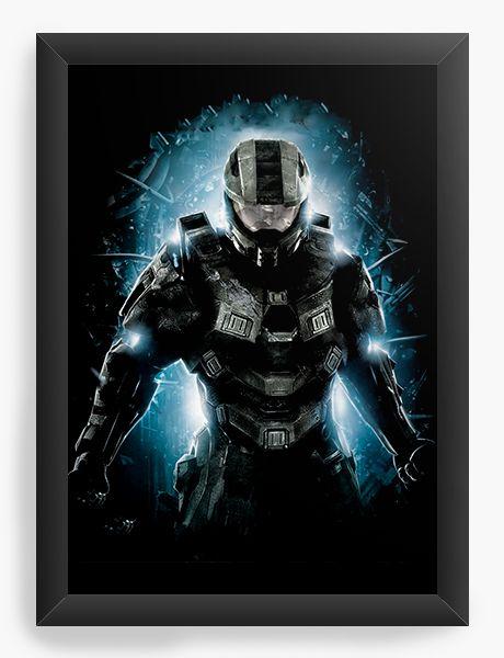 Quadro Decorativo A4 (33X24) Halo - Nerd e Geek - Presentes Criativos