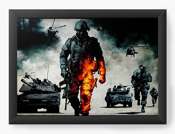 Quadro Decorativo A4 (33X24) Guerra - Nerd e Geek - Presentes Criativos