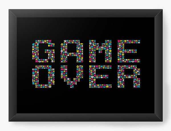 Quadro Decorativo A4 (33X24) Game Over - Nerd e Geek - Presentes Criativos