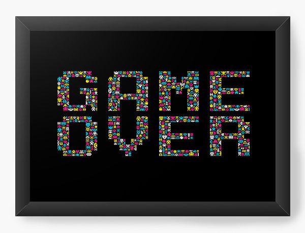 Quadro Decorativo Game Over - Nerd e Geek - Presentes Criativos