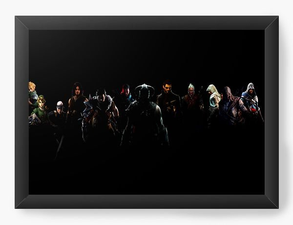 Quadro Decorativo A4 (33X24) Link e Assassin's creed - Diversos - Nerd e Geek - Presentes Criativos