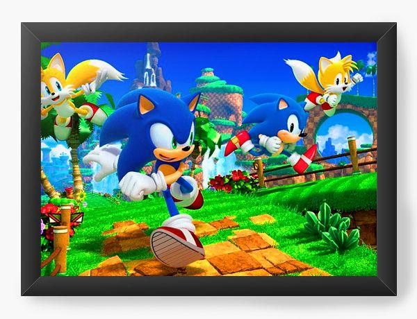 Quadro Decorativo Sonic The Hedgehog - Nerd e Geek - Presentes Criativos