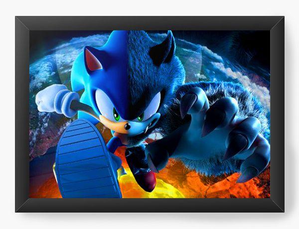 Quadro Decorativo Sonic Unleashed - Nerd e Geek - Presentes Criativos