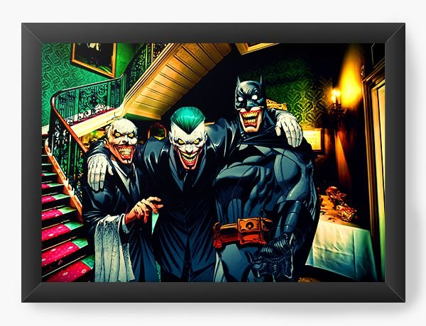 Quadro Decorativo A4 (33X24) The joker's smile - Nerd e Geek - Presentes Criativos