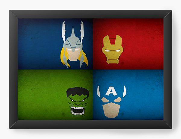 Quadro Decorativo Thor, Capitão Americ, Hunk, Homem de Ferro