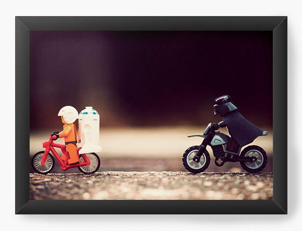 Quadro Decorativo R2-D2 e Darth Vader