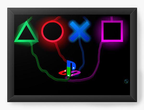 Quadro Decorativo Playstation - Nerd e Geek - Presentes Criativos