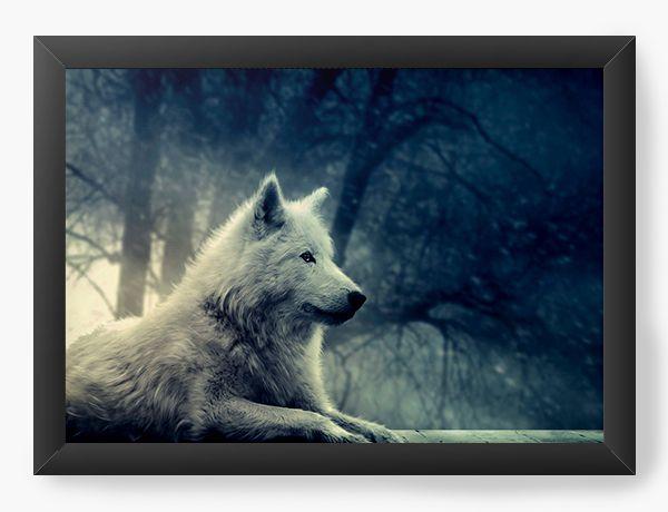 Quadro Decorativo Wolf - Lobo branco - Nerd e Geek - Presentes Criativos